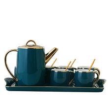New Arrival Green gold rim 8Pcs with six Cups and Tray Ceramic tea sets with teapot for gift