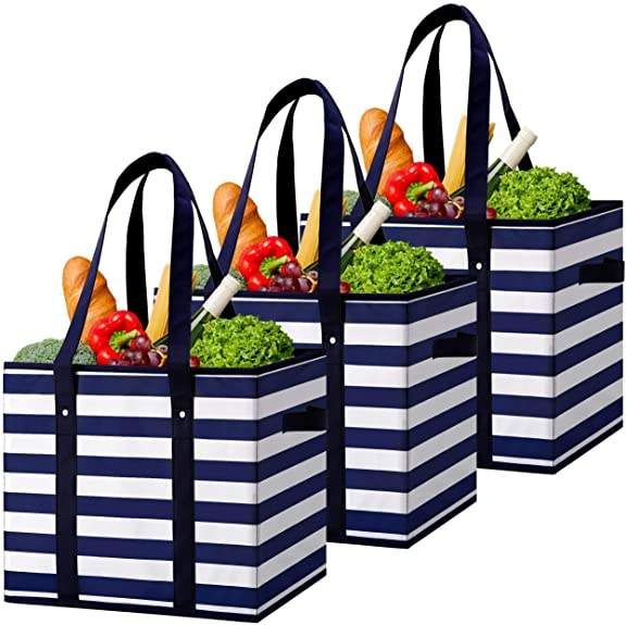 Reusable eco friendly Utility Tote high quality Long Handle Grocery Shopping Bags Boxes for Groceries clothes Books