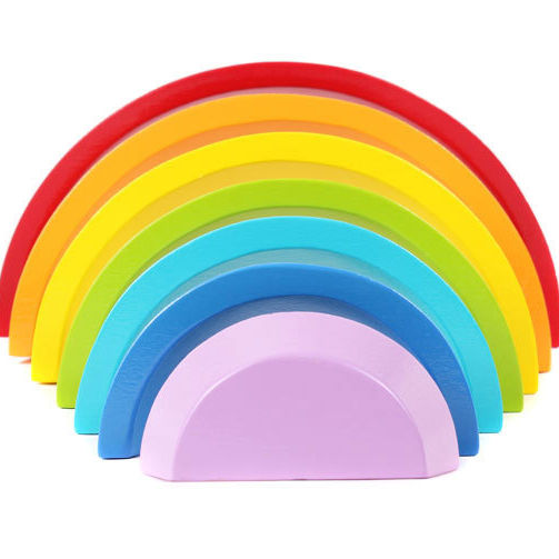 Wholesale multicolor wooden arched rainbow blocks montessori educational wooden creative stack toys for kids