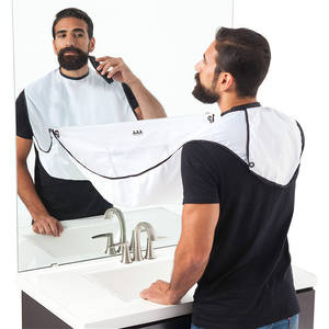 Beard Apron Beard Care Clean Gather Cloth Bib Facial Shave Apron with Two Suction Cups