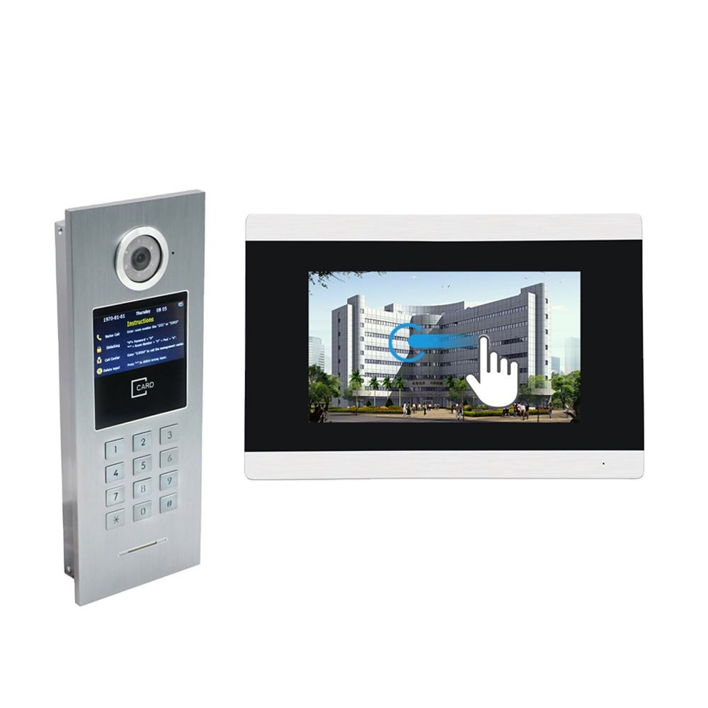 Bcom IP SIP touch screen 7 inch Professional apartment building video intercom