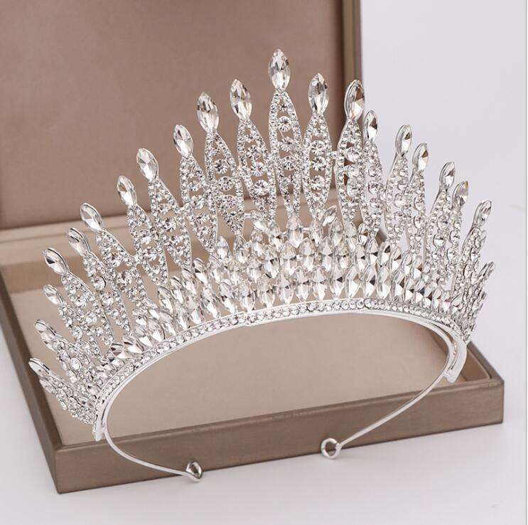 New Silver red Crystal Bride Tiara crown Bridal Tiaras Head Jewelry Diadem Headbands tiaras and crowns wedding for women