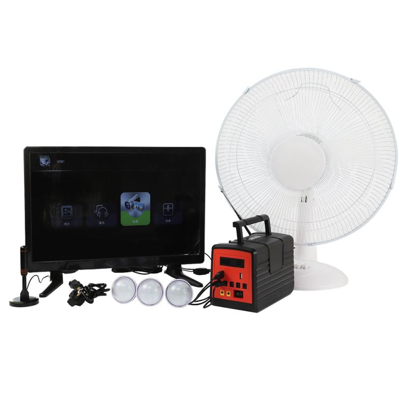 Solar powered portable lighting kit TV and Fan generator station solar energy home use system