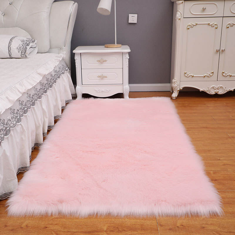 Plush Carpets Living Room Home Bedside Solid Color Wool Like Flooring Mat Customization