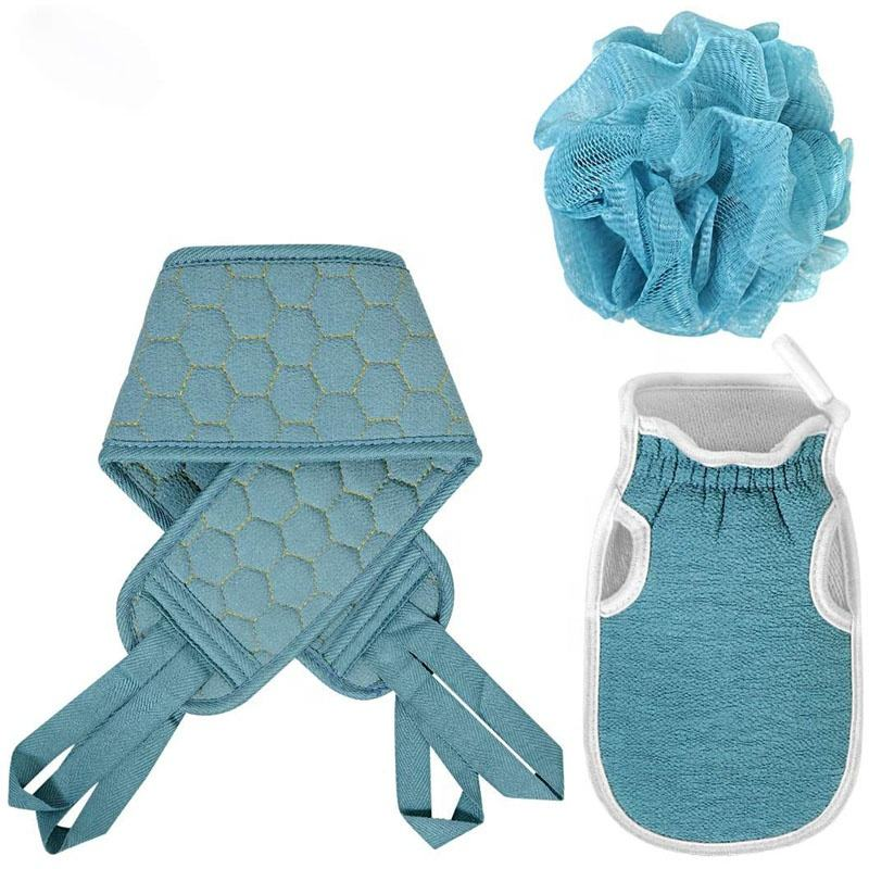 Mannen Vrouwen Diepe Schone <span class=keywords><strong>Dode</strong></span> Huid Cell Remover Scrubber Douche Loofah Spons Body Spa Massage Exfoliërende Handschoen Bad Set