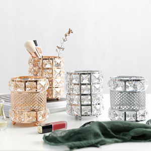 Makeup Brush Holder Luxury Gold Metal Vanity Storage Box Organizer Case Cup Cylinder Diamond Make Up Crystal Makeup Brush Holder