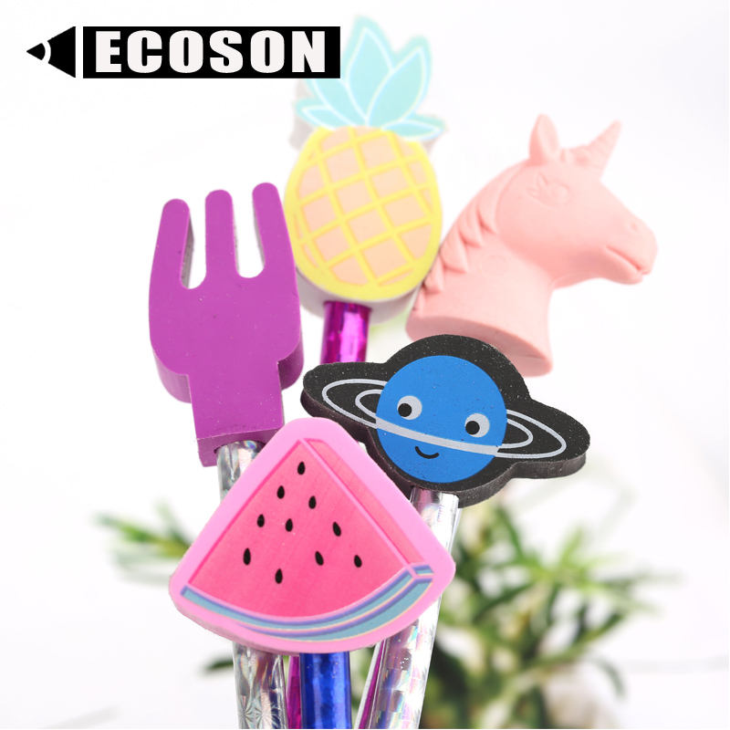 Personalized Wholesale Cheap Lovely Shape Eraser Fruit Shaped Cute Custom HB Pencil Animal Eraser Top Eraser Custom Shape