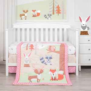 3 Piece Crib Bedding Set Baby Crib Autumn Jungle Theme 100% Cotton Pink Nursery Bedding
