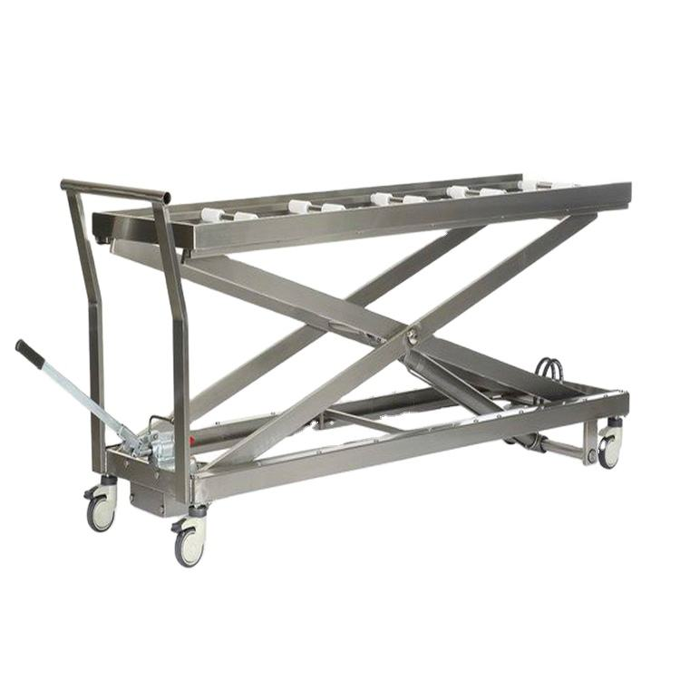 YSSJT-1B YSENMED hospital stainless steel hand crank cadaver lift manual corpse transfer trolley
