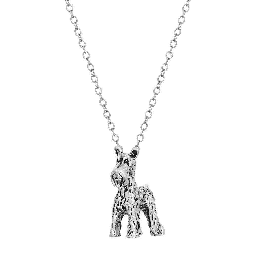 Welsh Terrier Schnauzer Dog lovely three-dimensional retro antique Charm Necklace for foreign trade supply