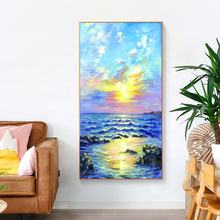 High Quality Abstract Seascape Sunrise Canvas Painting Home Decoration Hand Painted Oil Painting Modern Style
