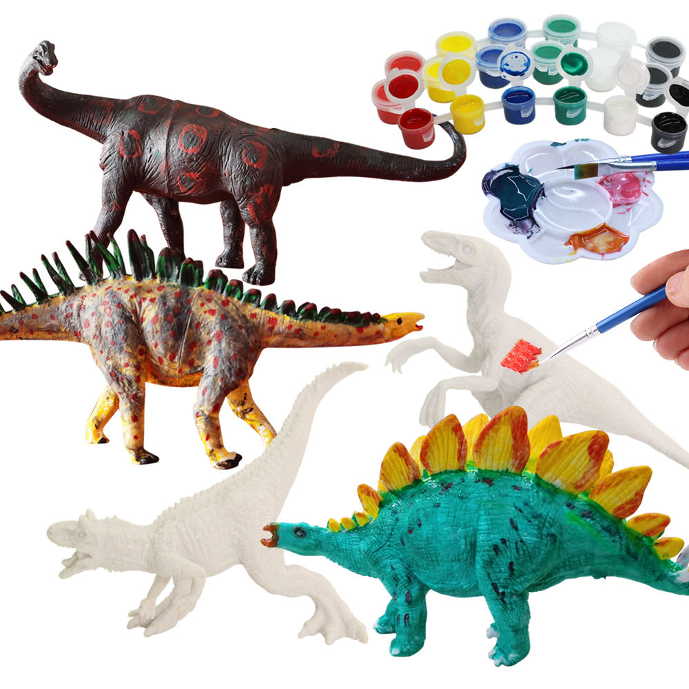 juguetes School class STEM intelligent gift solid unpaint dinosaur toy for kids diy 2020