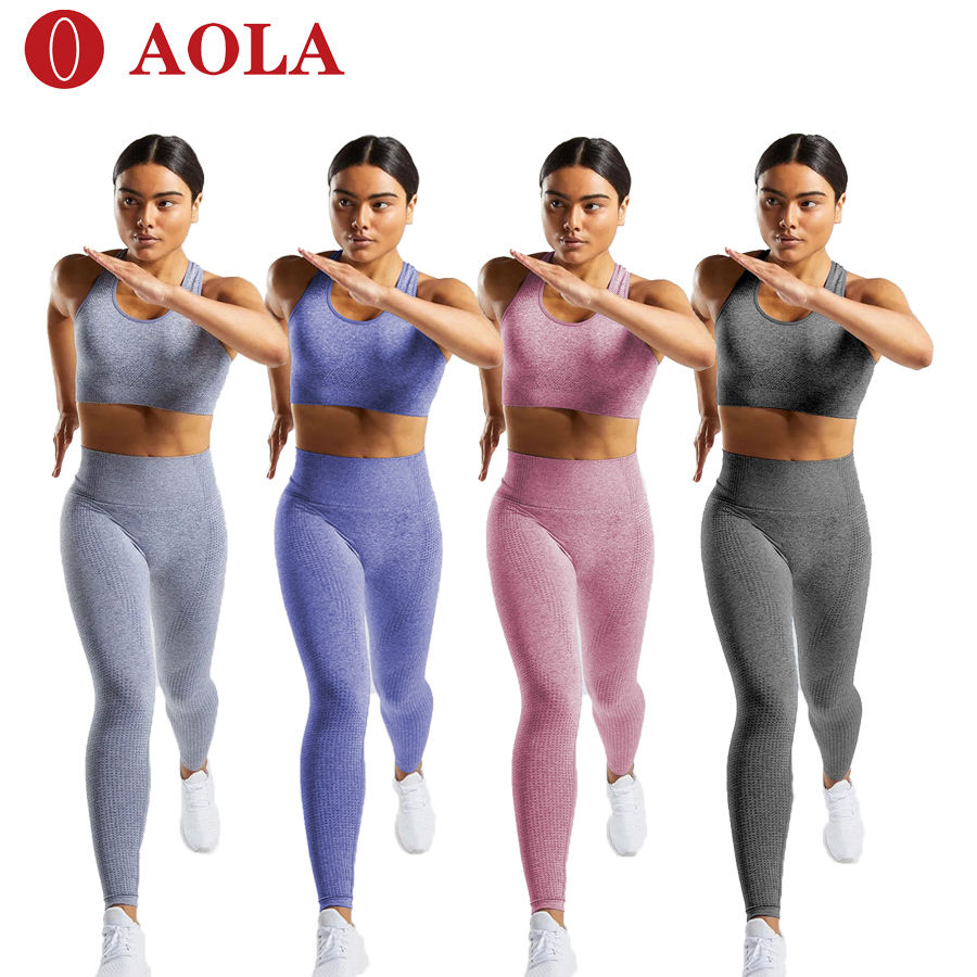 AOLA hot sales 2020 2 piece yoga set women fitness clothing sport wear custom yoga 2 piece