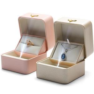 DIGU Leather Luxury white pendant necklace wedding ring gift box custom logo print led light jewelry box