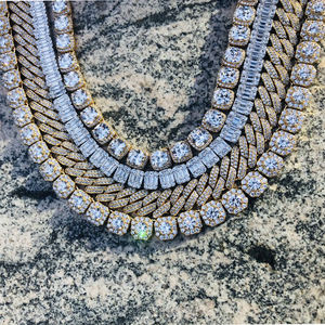 12mm Iced out Prong Chain Men Miami Cuban Choker Necklace Hip Hop Jewelry Diamond Prong Cuban Chain