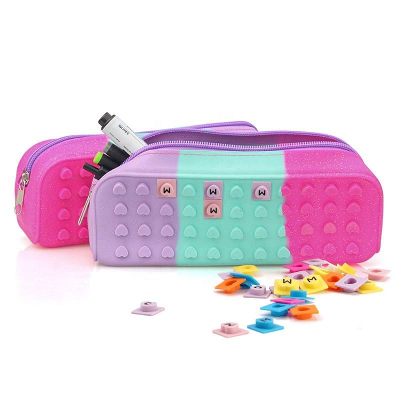 Customised Cute Big Capacity Durable Soft Silicone School Pencil Case Pencil Box for Kids With Nylon Zipper