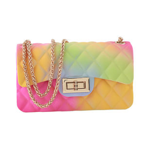 2020 Ladies Luxury Hand Painting Multicolored Rainbow Small Candy Shoulder Bags for Women Purses Handbags Silicone Jelly Bag