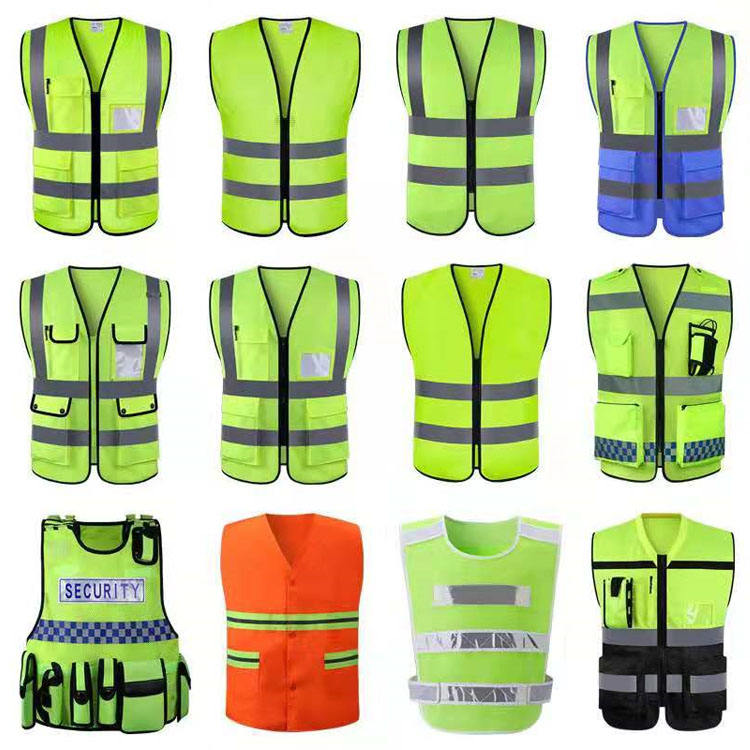 wholesale hio hiv 4 Pockets Polyester high visibility safety reflective vest ANSI/CLASS 2
