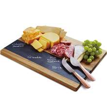 Solid Acacia Wood and Slate Meat and Cheese Board Set Large Charcuterie Party Tray