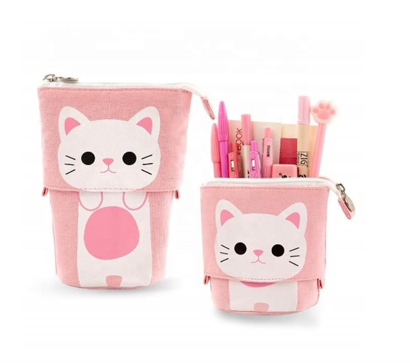 Wholesale Stretchable Cat Pen Holder Pencil Pouch Bag Stationery Case