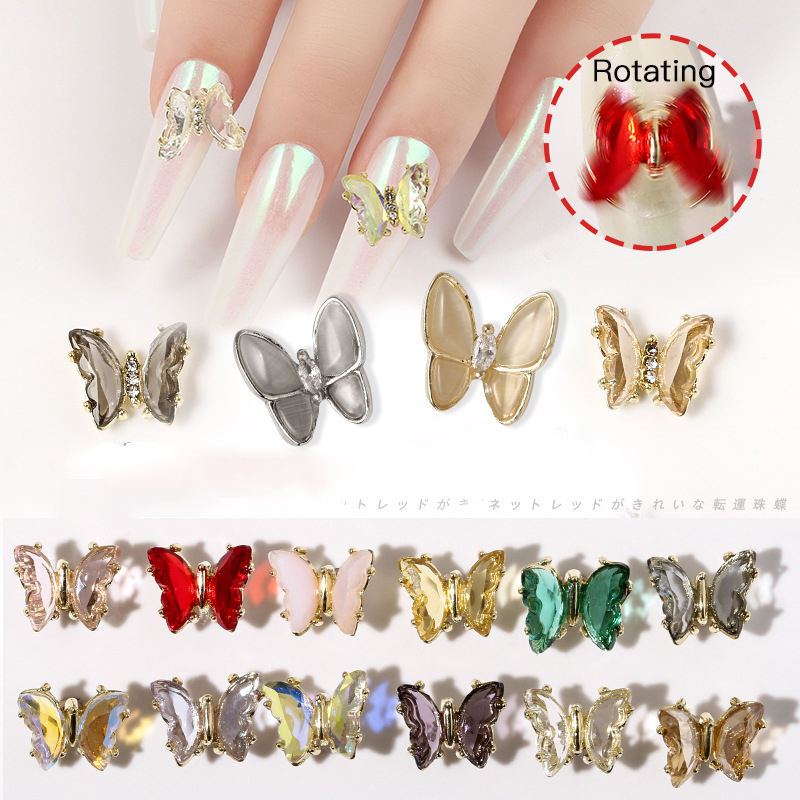 Hot Selling Nail Rotating Butterfly Shape Zircon Nail Art Design Supplies for 3D New Year Christmas Lucky Nail Art Decoration