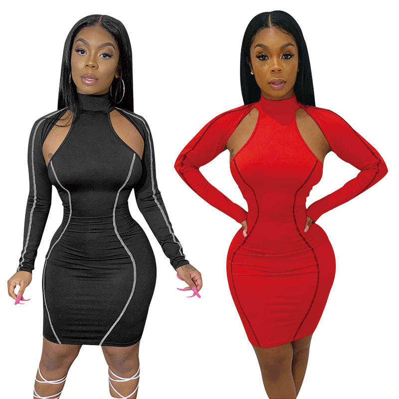 Womens Sexy Dress Long Sleeve Hollow Out Turtle Neck Stripe Bodycon Mini Dresses Autumn Fall New Style Clothes RS00305