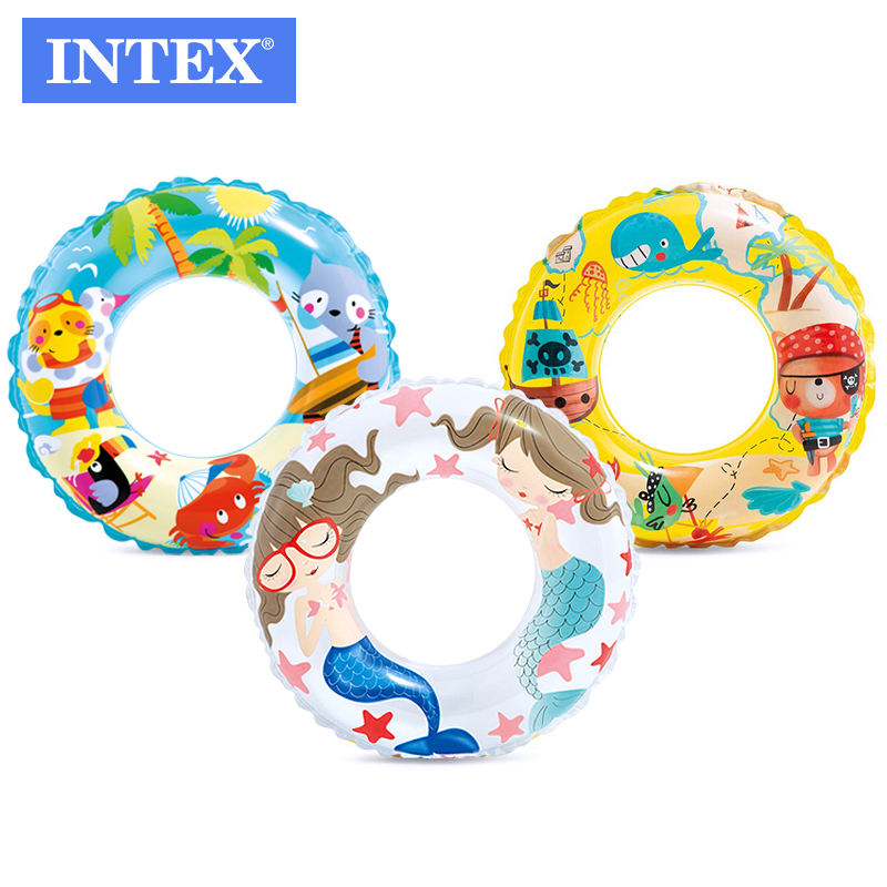 Intex 59242 Summer Swimming Pool Lake Kids Transparent Orange Fish fun Swim Ring Tube