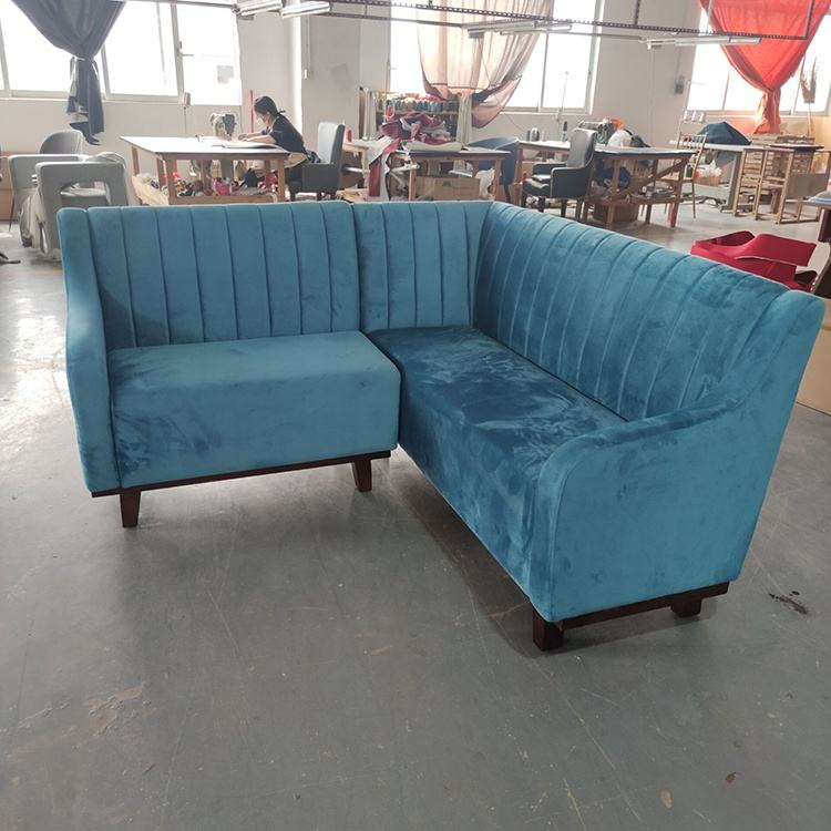(SP-KS399) Commercial custom made high back booth velvet fabric L shaped sectional salon bench sofa