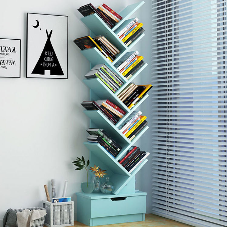 office wood kid portable tree book shelf