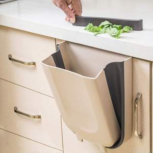 Foldable Plastic Car Bathroom Waste Basket White Kitchen Cabinet