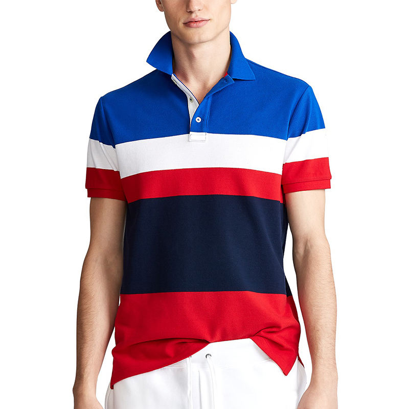 ribbed sleeve edge color block original polo t shirt for men