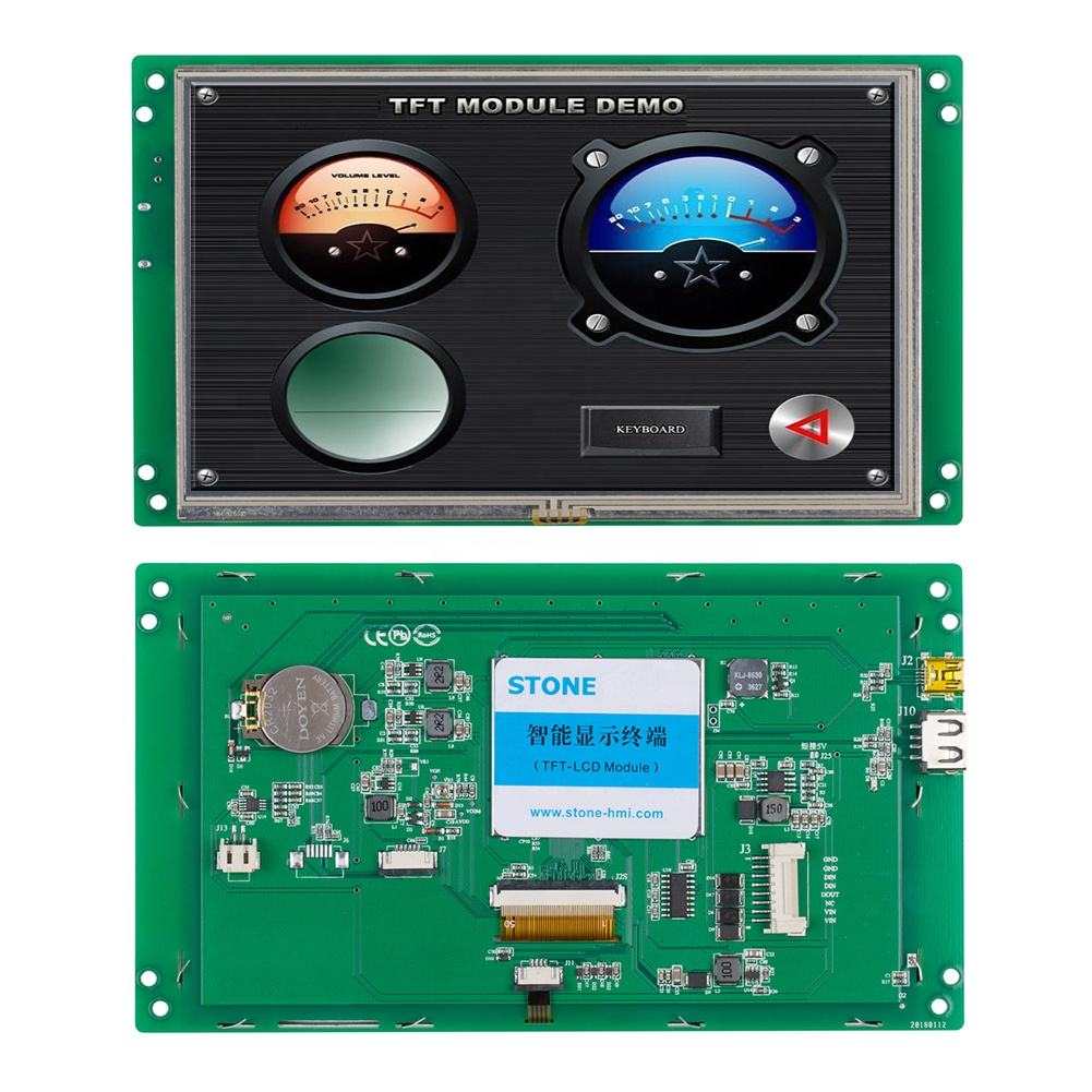 7 inch Industrial Touch Display LCD with Software + Program for Cheap HMI & PLC Solution