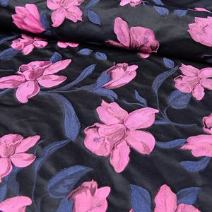 Top quality recycled polyester yarn dyed crepe jacquard floral fabric flower roes red brocade eco fabric for women clothing