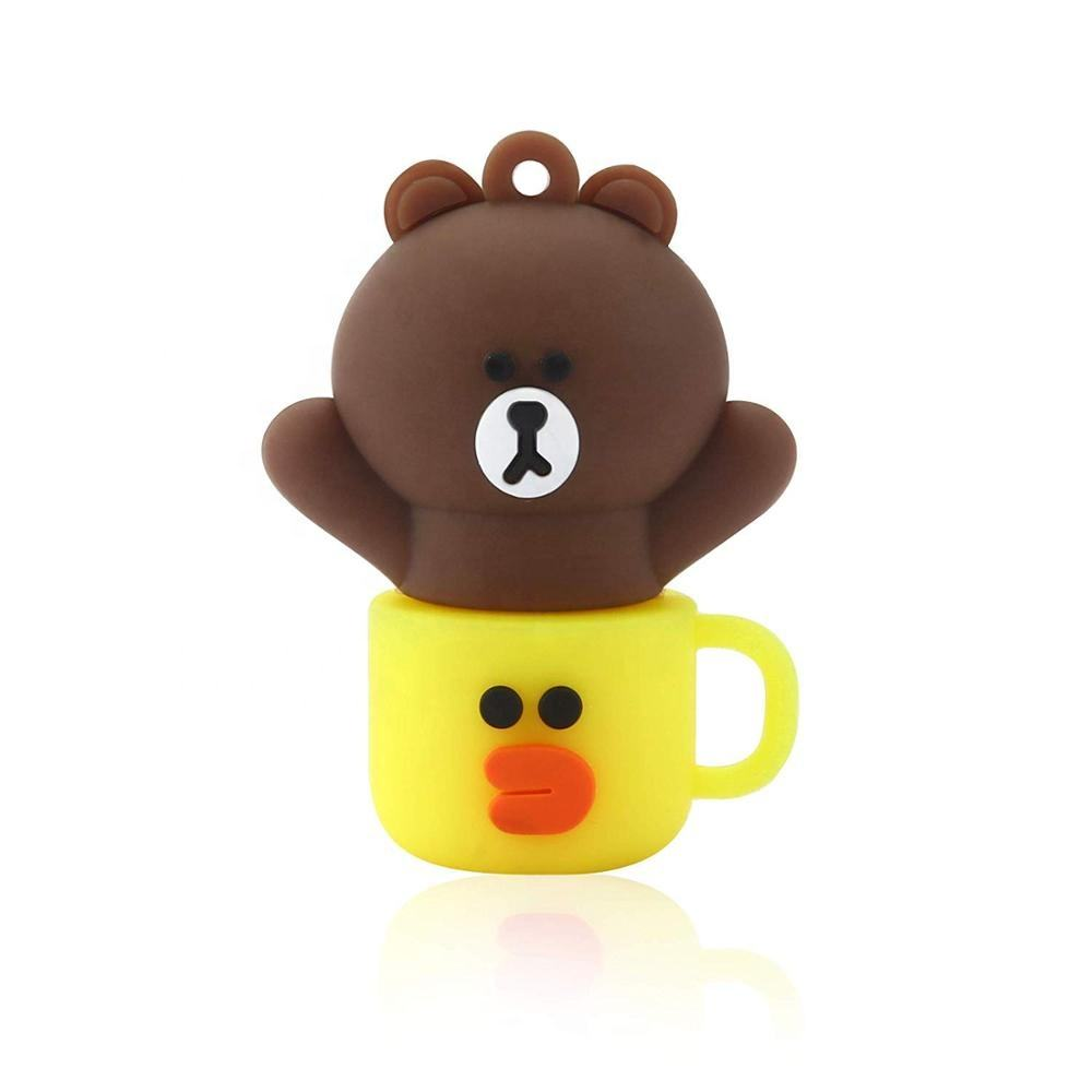 Funny innovative promotion usb memory drive happy rabbit bear cup shaped thumb drive personalized made cartoon usb stick 64gb