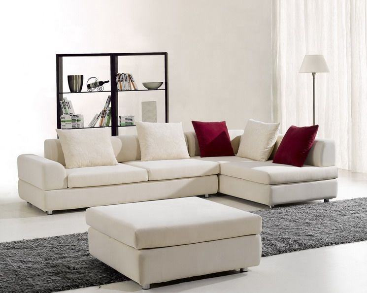 Snug feel at home L shaped sectional sofa with big square ottoman
