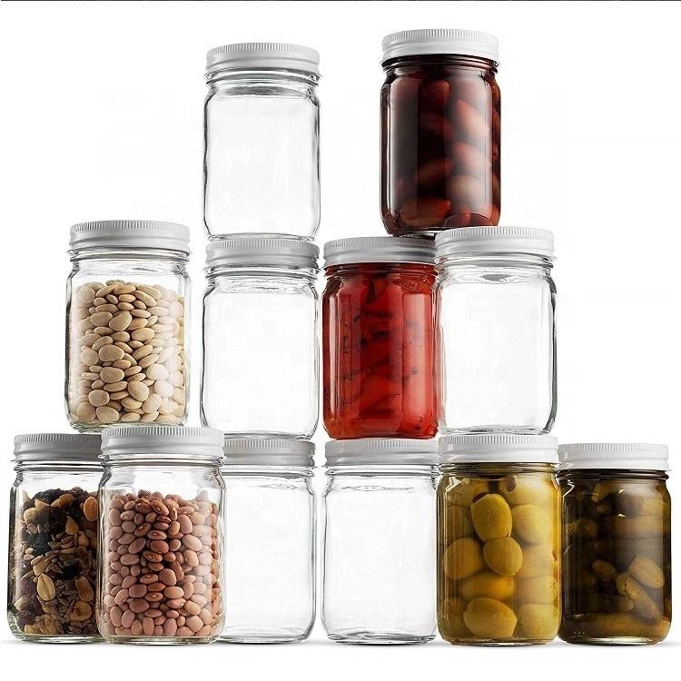 Food Grade In Bulk 8oz 16oz Metal Lid Wide Mouth Glass Mason Jars Canning Jar For Storage