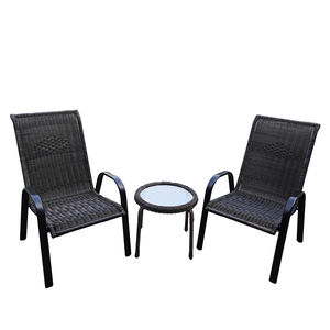 Outdoor Furniture Set PE Rattan Wicker Chair Coffee Table Set 3pcs Patio Bristo Set