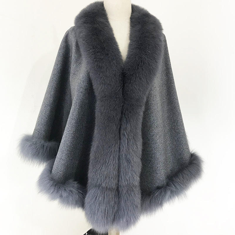 Luxus Frauen Red Winter Kaschmir Schal Fluffy Fox Fur Trim Kaschmir Cape