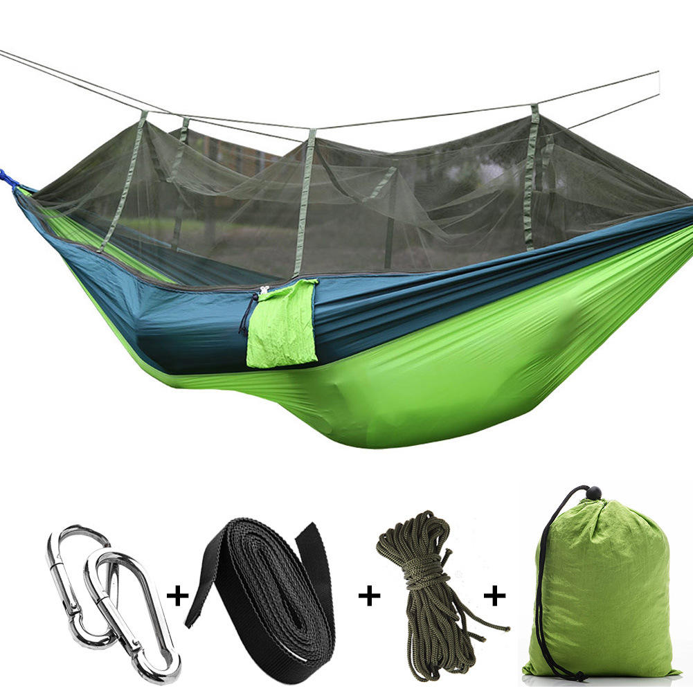 Lightweight Portable Hanging Sleeping Bed Swing Double Hammock Travel Hammock with Mosquito Net