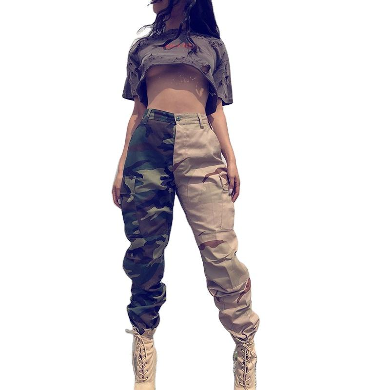 2020 new Autumn/spring Patchwork Camouflage High Waist Pants Women Pocket Loose Wide Leg Overalls Pants Dance Streetwear Pants