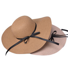 DDA385 UV Protection Bowknot Visor Caps Summer Foldable Beach Seaside Sun Hat Women Sunhat Vacation Wide Large Brim Straw Hats