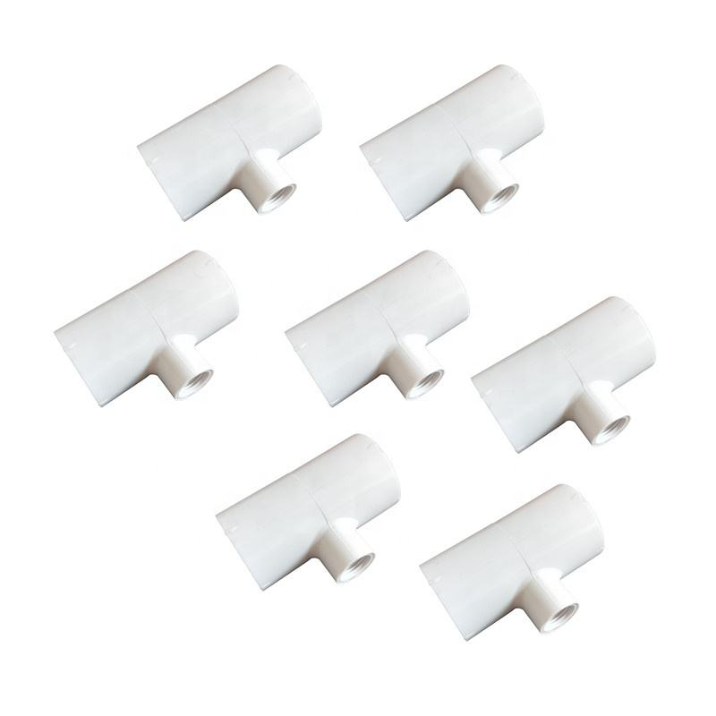 PVC Tee Fittings for Threaded Poultry Nipples Chicken Waterer - SCH 40 PVC 1/2 inch Slip X 1/2 inch Slip X 1/8 inch NPT PH-27