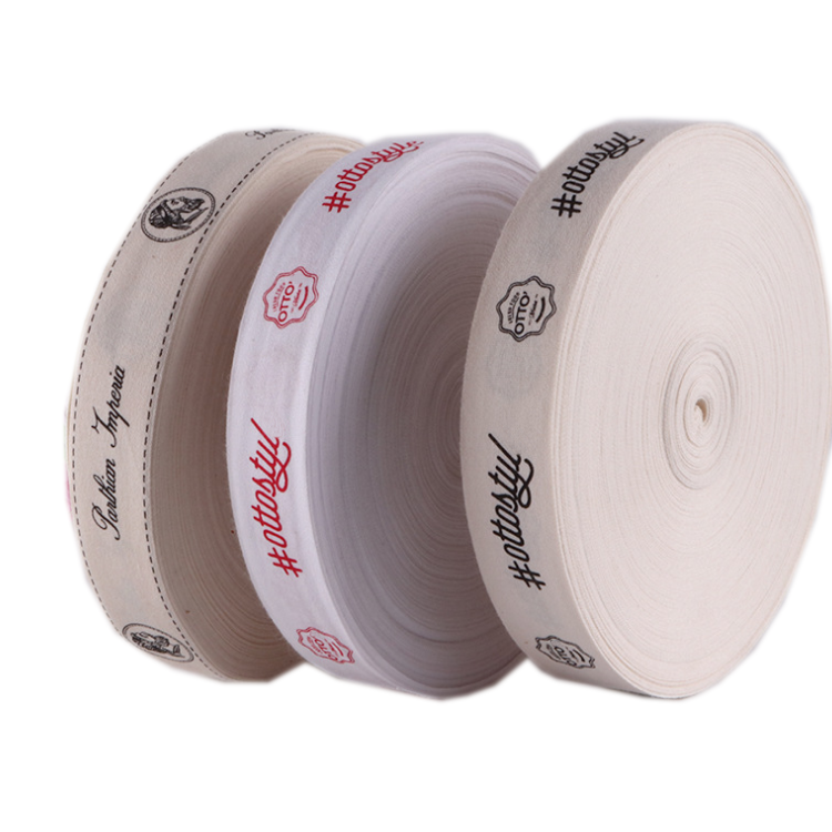 Custom Printed Brand Name Logo Labels Cotton Neck Tape for t Shirt