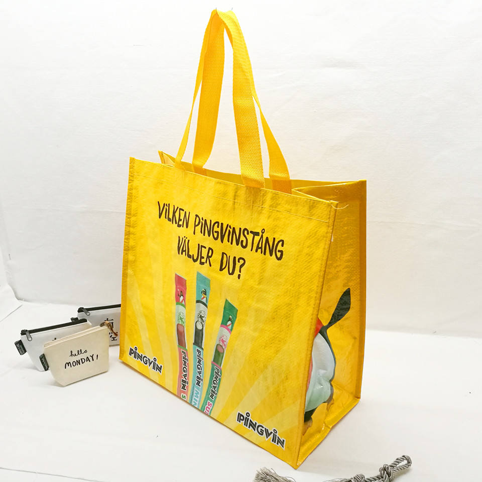 Promotional cmyk custom logo bopp laminated recycled pp woven shopping bag