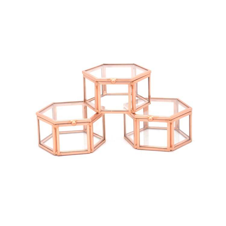 Rose gold Pink Single Slot for Engagement Ring and Wedding Ring hexagonal jewelry box