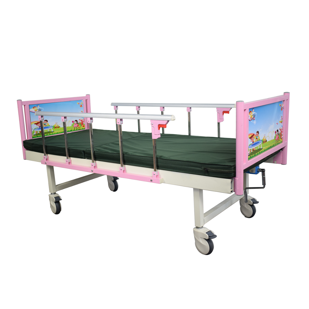 Manufacture Manual Pink Series 1Crank Children Hospital Bed Medical Bed