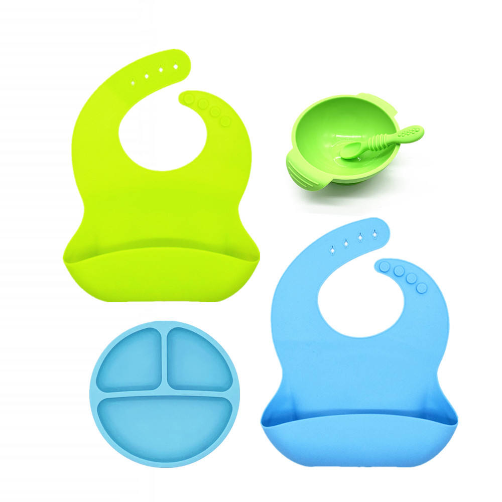 BHD Hot Selling Silicone Baby Feeding Set Baby Bib Silicone Plate Spoon and Baby Bowl
