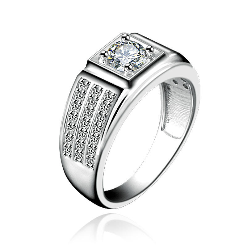 fashion wedding engagement plated zircon 925 sterling silver ring for men