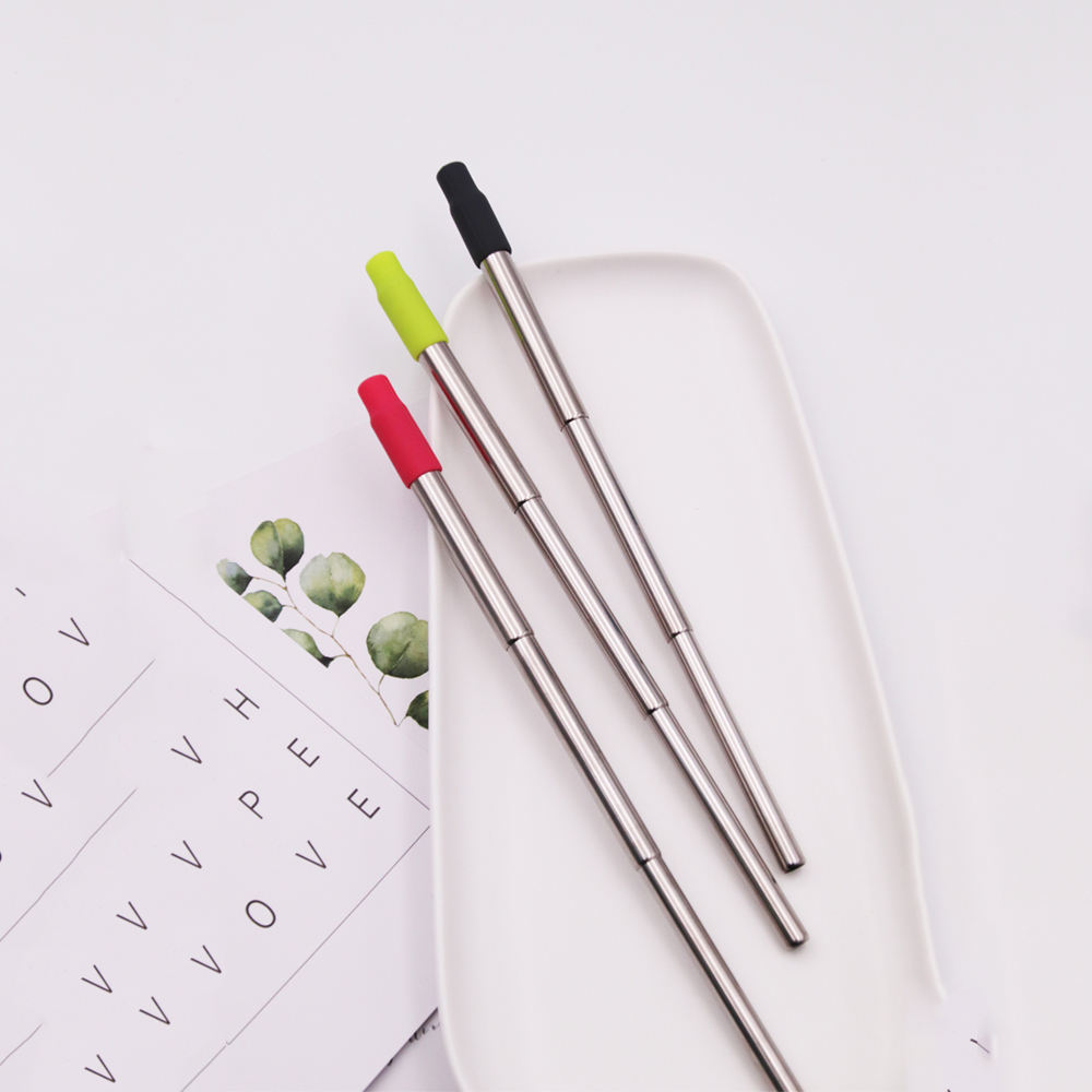 Eco Friendly Travel Cases Silicone Tip Straw Reusable Straws Telescopic Stainless Steel
