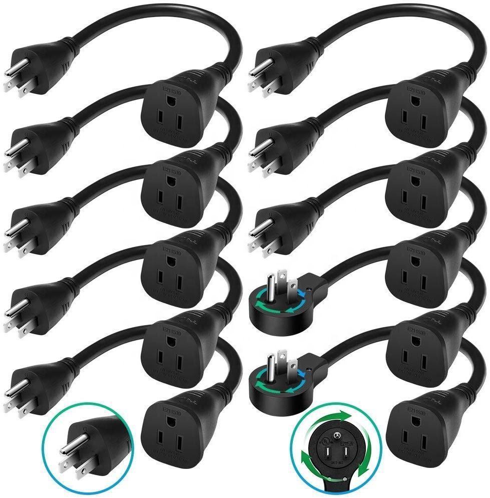 BULL Cable 1 Ft 360 Degree Rotating Flat Plug Extension Cord/ Wire, 3 Prong Grounded Wire 14 Awg Power Cord-10 Pack